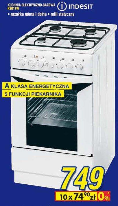 Kuchnia Elektryczno-gazowa INDESIT K3G11W