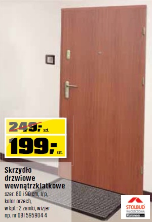 Skrzydło drzwiowe wewnątrzklatkowe szer. 80 i 90 cm, l/p, kolor orzech, w kpl.: 2 zamki, wizjer np. nr OBI 595904 4