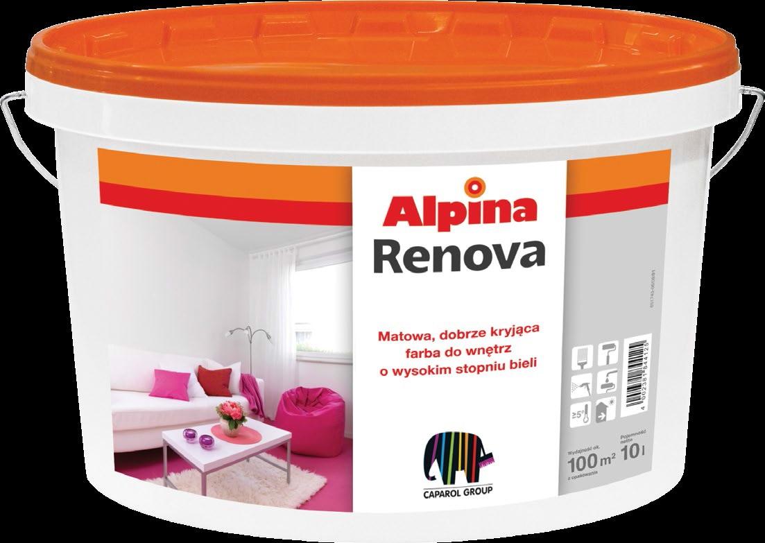 Farba akrylowa Alpina Renova 10 L biała, matowa, zastosowanie: wewnętrzna, ściany i sufity cena: 3,59 / litr