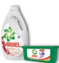 Żelowe kapsułki lub płyn do prania Ariel