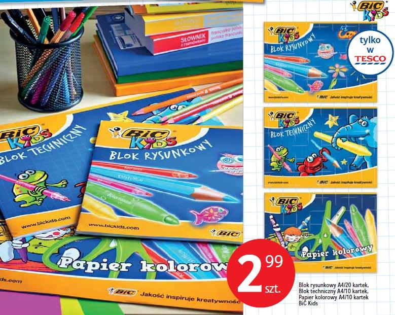 Blok rysunkowyA4/20 kartek, Blok techniczny A4/10 kartek, Papier kolorowy A4/10 kartek BiC Kids