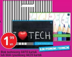 Blok techniczny A4/10 kartek lub blok rysunkowy A4/20 kartek