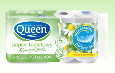 Papier toaletowy rumiankowy Queen, 8 rolek