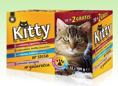Karma dla kota Kitty, 10x100 g + 2x100 g