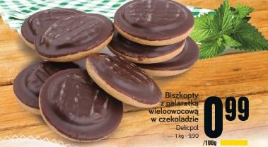 Biszkopty z galaretką wieloowocową w czekoladzie Delicpol