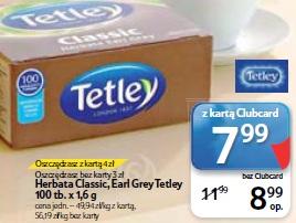 Herbata Classic, Earl Grey Tetley 100 tb.x 1,6 g