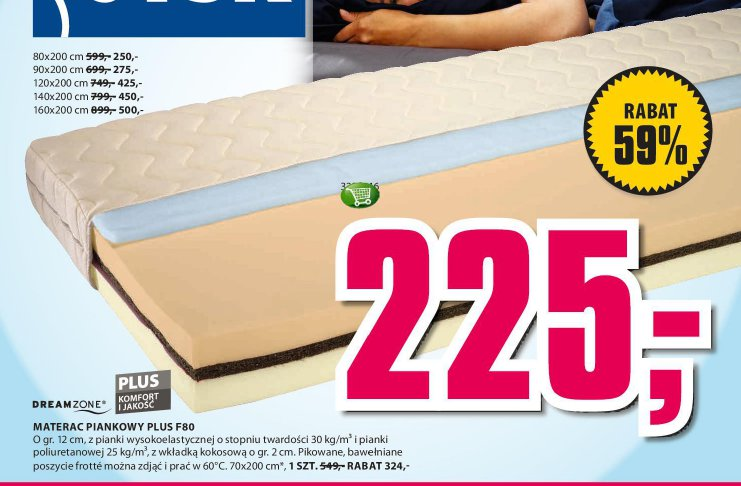 Materac piankowy Plus F80