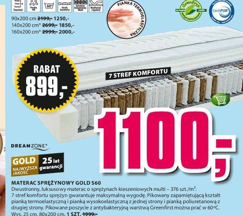 Materac sprężynowy Gold S60