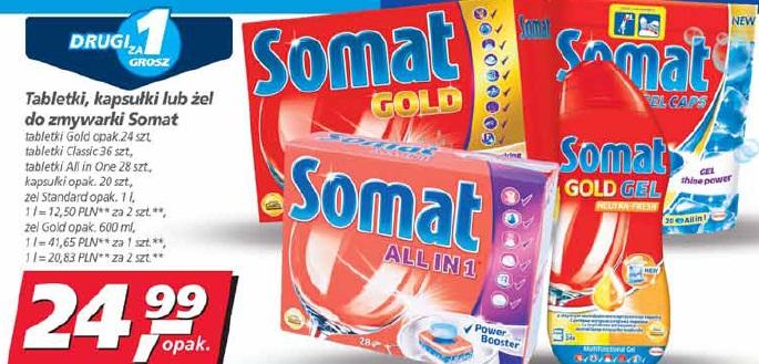 Tabletki, kapsułki lub żel do zmywarki Somat