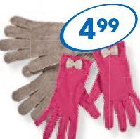 Rękawiczki damskie, gładkie lub z kokardkami