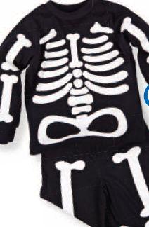Piżama chłopięca z długim rękawem i wzorem szkieletu świecącego w ciemności