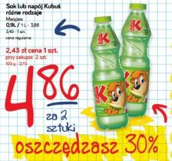 Sok lub napój Kubuś różne rodzaje Maspex