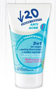 3w1 żel myjący + peeling złuszczający + maska regulująca Under Twenty