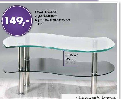 Ława szklana 2-poziomowa wym. 102x46,5x45 cm