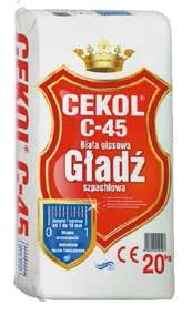 Gładź szpachlowa gipsowa biała C-45 20 kg