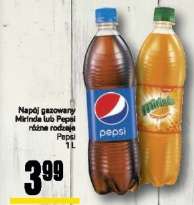 Napój gazowany Mirinda lub Pepsi różne rodzaje Pepsi