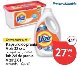 Kapsułki do prania Vizir 32 szt.lub Żel do prania Vizir 2,6 l