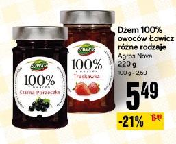 Dżem 100% owoców Łowicz różne rodzaje Agros Nova