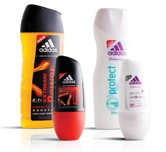 Zestaw Adidas: żel pod prysznic (250 ml) + roll-on (50 ml)