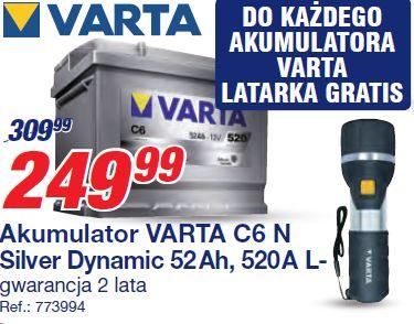 Akumulator VARTA C6 N Silver Dynamic 52 Ah, 520 A Lgwarancja 2 lata