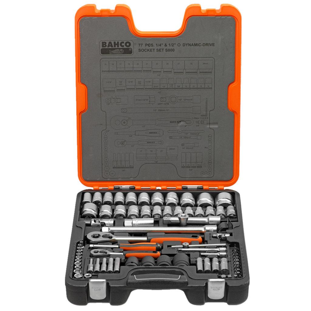 """Zestaw kluczy nasadowych S800 77 części 1/4""""-1/2"""""""