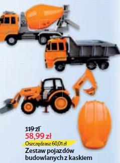 Zestaw pojazdów budowlanych z kaskiem