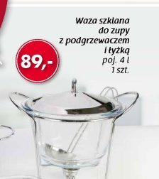 Waza szklana do zupy z podgrzewaczem i łyżką