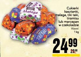 Cukierki kasztanki, malaga, tiki taki, tiramisu lub marcepan w czekoladzie