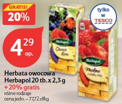 Herbata owocowa Herbapol 20 tb.x 2,3 g + 20% gratis