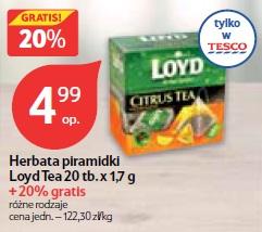 Herbata piramidki Loyd Tea 20 tb.x 1,7 g + 20% gratis