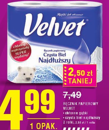 RĘCZNIK PAP IEROWY VELVET • chłonne gąbki • czysta biel najdłuższy