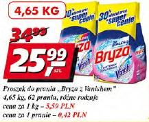 Proszek do prania Bryza z Vanishem 62 prania różne rodzaje