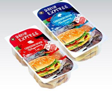 Cheeseburger drobiowy lub wieprzowy z ketchupem Danie Express