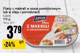 Filety z makreli w osie pomidorowym lub w oleju i pomidorach