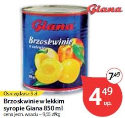 Brzoskwinie w lekkim syropie Giana 850 ml