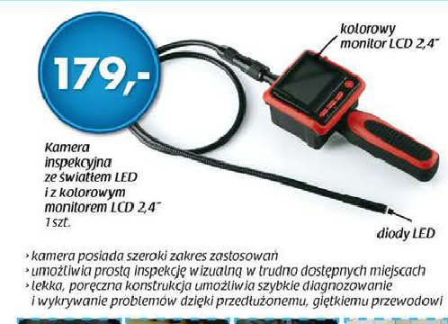 Kamera inspekcyjna ze światełkiem LED i z kolorowym monitorem LCD 24