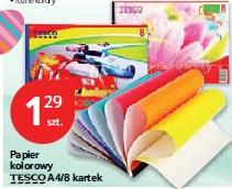 Papier kolorowy Tesco A4/8 kartek