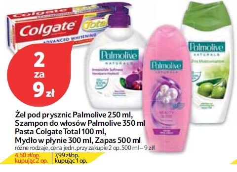 Żel pod prysznic Palmolive 250 ml, Szampon do włosów Palmolive 350 ml Pasta Colgate Total 100 ml, Mydło w płynie 300 ml, Zapas 500 ml