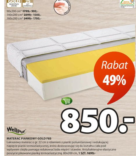 Materac Piankowy Gold F85