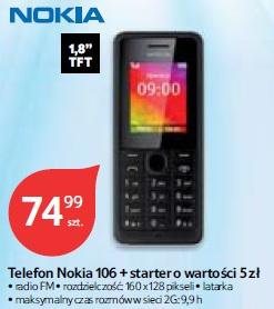 Telefon Nokia 106 + starter o wartości 5 zł