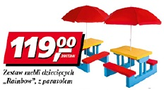 Zestaw mebli dziecięcych Rainbow z parasolem