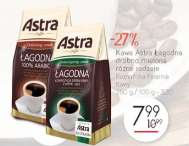 Kawa Astra Łagodna drobno mielona różne rodzaje Poznańska Palarnia Kawy