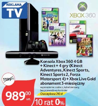 Konsola Xbox 360 4 GB+ Kinect + 4 gry (KinectAdventures, Kinect Sports,Kinect Sports 2, ForzaMotorsport 4) + Xbox Live Goldabonament 3-miesięczny