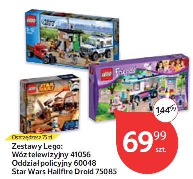 Zestawy Lego: Wóz telewizyjny 41056 Oddział policyjny 60048 Star Wars Hailfire Droid 75085