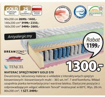 Materac sprężynowy Gold S70