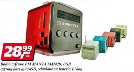 Radio cyfrowe FM Manta MM420 USB, czytnik kart microSD, wbudowana bateria Li-ion