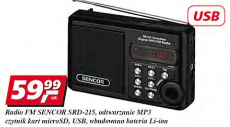 Radio FM Sencor SRD-215, odtwarzanieMP3, czytnik kart microSD, USB, wbudowana bateria Li-ion