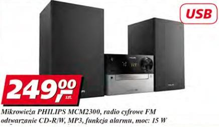 Mikrowieża Philips MCM2300, radio cyfrowe FM, odtwarzanie CD-R/W, MP3, funkcja alarmu, moc: 15 W