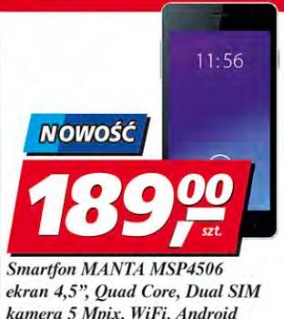 "Smartfon Manta MSP4506 ekran 4,5"", Quad Core, Dual SIM, kamera 5 Mpix, WiFi, Android"