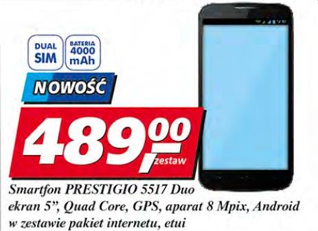 "Smartfon Prestigio 5517 Duo, ekran 5"", Quad Core, GPS, aparat 8 Mpix, Android w zestawie pakiet internetu, etui"